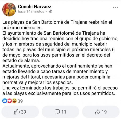 Comunicado apertura playas San Bartolomé de Tirajana